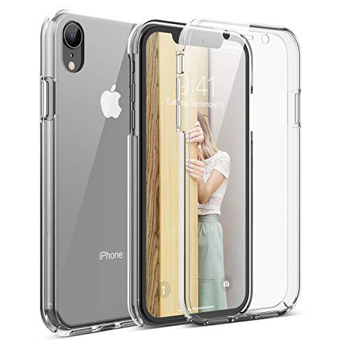 Winhoo per Cover iPhone XR Custodia 360 Gradi Full Body Rigida Protettiva Protezione per Schermo Morbida Silicone TPU Ai Graffi Antiurto Protezione Posteriore - Trasparente