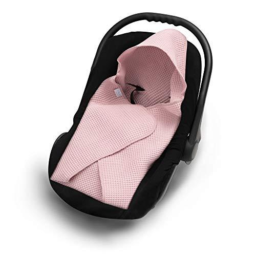 EliMeli Einschlagdecke für Babyschale 100% Baumwolle Leichte Baby Decke für Autositz aus Waffelstoff für den Sommer und Frühling universal z.B. Maxi Cosi Ideal als Kuscheldecke Kinderwagedecke (Rosa)