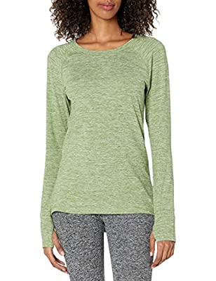 Slightly tailored fit through the waist Soft, lightweight, moisture wicking jersey fabric with brushed back Crew neckline Long-sleeve design Thumbholes for additional warmth An Amazon brand