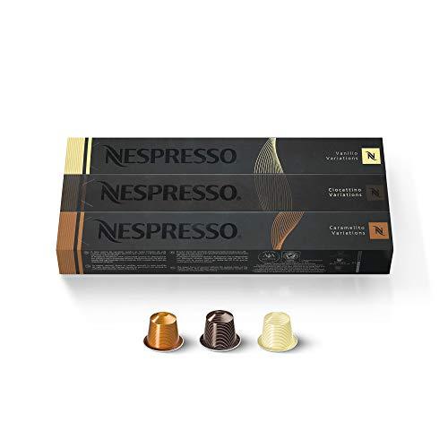 Nespresso - Cápsulas para Nespresso de tres variedades: Vanilio, Caramelito y Ciocattino (30 cápsulas)