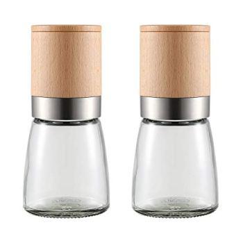 Lot de 2 moulins à poivre et sel en bois réglable en céramique pour la cuisine