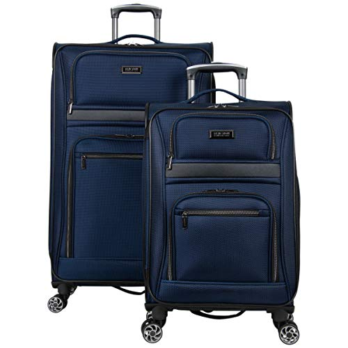Kenneth Cole Reaction Rugged Roamer 2-Piece 20'/28 Lightweight Softside Expandable 8-Wheel Spinner Travel Luggage Set, Navy