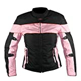 Xelement CF462 'Pinky' Women's Black and Pink Tri-Tex Fabric Motorcycle Jacket with X-Armor Protection - Large