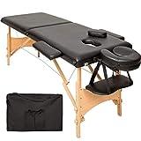 TecTake Table de massage 2 zones pliante cosmetique lit de massage portable + housse de transport - diverses couleurs au choix - (Noir | No. 401463)