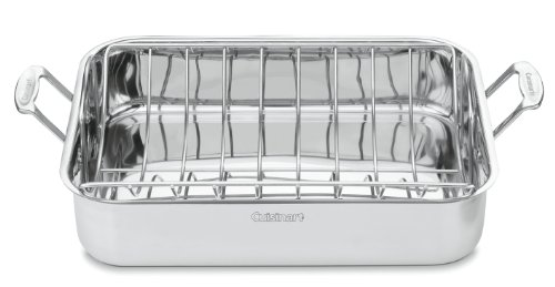 Cuisinart 7117-16UR Chef's Classic Stainless 16-Inch Rectangular Roaster with Rack, Roaster Rack