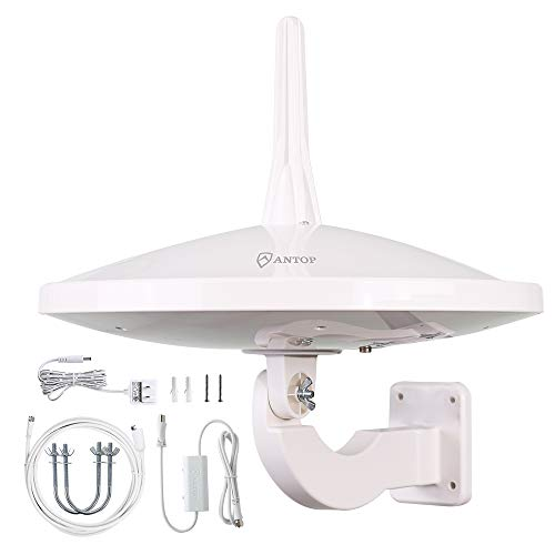[Professional Version]Outdoor HDTV Antenna,ANTOP Digital TV RV Antenna 720 UFO Dual Omni-Directional Indoor Antenna with Smartpass Amplifier & 4G LTE Filter Fit for 4K HD 1080P VHF UHF Ship from USA