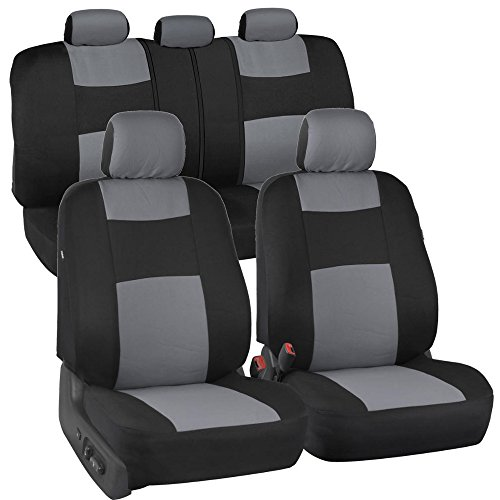BDK PolyPro Car Seat Covers, Full Set in Gray on Black – Front and Rear Split Bench Protection, Easy to Install, Universal Fit for Auto Truck Van SUV