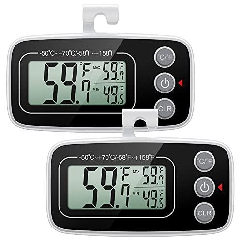 ORIA Termometro per Frigorifero, 2PCS Termometro del Congelatore Digitale, Termometri da Frigo con Retro Magnetico, Display LCD, Funzione Max/Min, 3 Opzioni di Montaggio per Cucina, Casa, Ristoranti