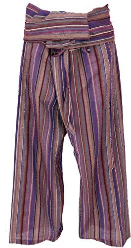 Guru-Shop, Pantaloni da Pescatore Thailandese da Tessuto a Righe, Cotone Fine, Pantaloni a Portafoglio, Pantaloni da Yoga, L/XL Ruggine/colorato, Dimensione Indumenti:One Size