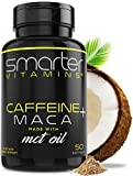 Energy Pills with Organic MACA Root - 200mg Caffeine Pills for Endurance, Stamina & Mood, PreWorkOut, Focus & Energerize W/Coconut MCT Oil, 50 Liquid Softgels