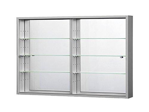 C-Möbel Sammlervitrine Glasvitrine Sammelvitrine Hängevitrine Vitrine Silber/Alu Spiegel Schaukasten Glasboden 375 x 70 x 4 mm