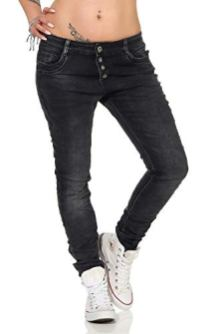 10118 fashion4young Knackige Damen Jeans Anthrazit