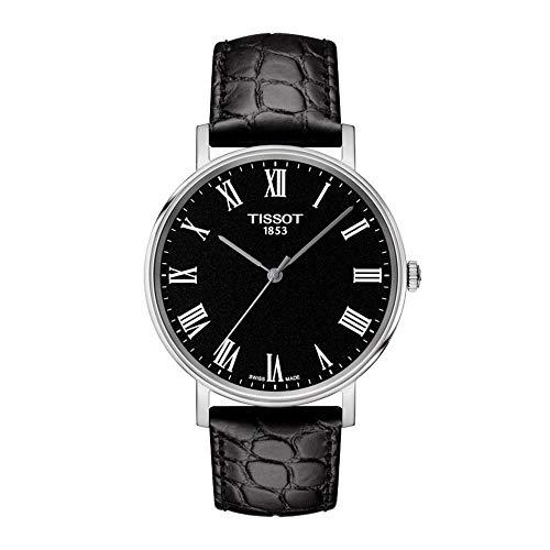 Tissot Herren Analog Quarz Everytime Medium Armbanduhr mit Leder Armband T1094101605300