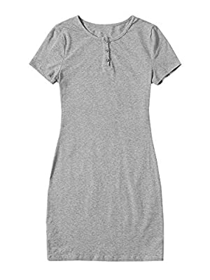 Fabric is stretchy Solid color, round neck, short sleeve, button front, t shirt dress Suitable for dailywear, club, dating, casual occasion Hand wash in cold water / Do not bleach Please refer to size chart in product description as below