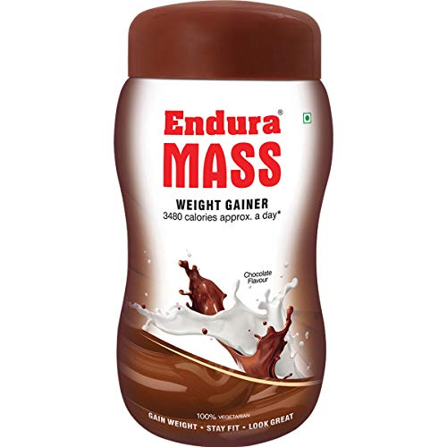 Endura Mass Weight Gainer | Mass Gainer | Gain Weight, Post Workout, 74 g Carbohydrate, 15 g Protein, Healthy Fats (Chocolate, 1 Kg)