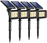 InnoGear Solar Lights Outdoor, 6 LED Solar Landscape Spotlights 2-in-1 IP65 Waterproof Auto On/Off Outdoor Lights Decorative Wall Light for Yard Garden Driveway Pathway Pool, Pack of 4 (Warm White)