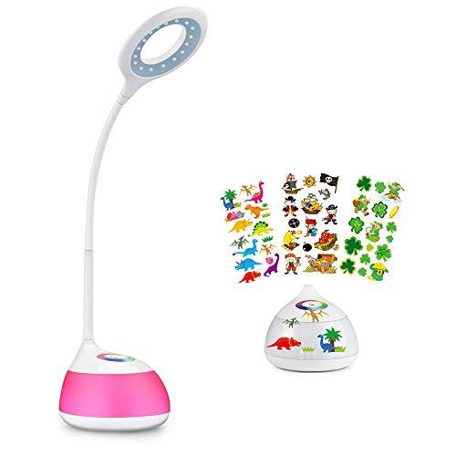 hihigou Bunte Dimmbare Schreibtischlampe LED Tischlampe 3 Helligkeitsstufen (Lesen, Lern, Entspannung) Flexibles Arm Touchfeldbedienung menit USB-Anschluss modern tischleuchte LED