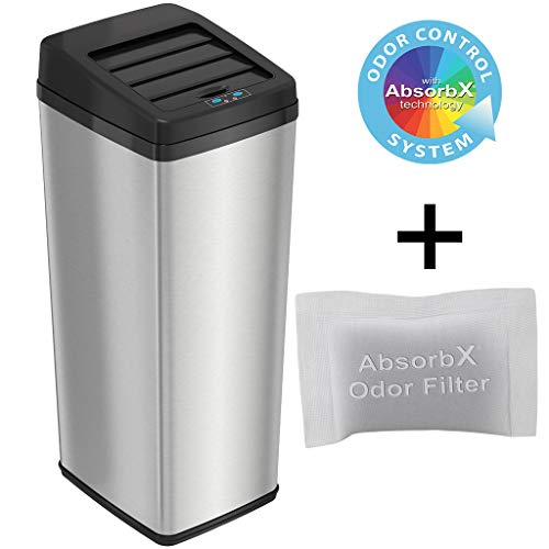iTouchless 14 Gallon Sliding Lid Touchless Sensor Trash Can with Odor Control System, 53 Liter Automatic Garbage Bin for Kitchen and Office, Brushed Stainless Steel