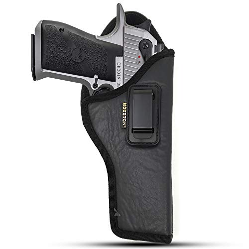 IWB Gun Holster by Houston - ECO Leather Concealed Carry Soft Material | Suede Interior for Maximum Protection | Fits: Magnum Research Dessert Eagle .50 / .50AE / .357 / .44 Caliber 6' Barrel (Right)