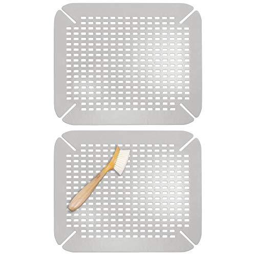 mDesign Set da 2 Tappetini lavello adattabili Griglia antigraffio lavandino per la cucina Grande...