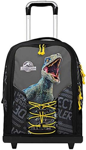 Jurassic world. Trolley Zaino Scuola Double by Gut Nuova Collezione 2020 + Astuccio 3 Zip Completo + Omaggio 10 Penne Colorate + Omaggio portachiave Fischietto