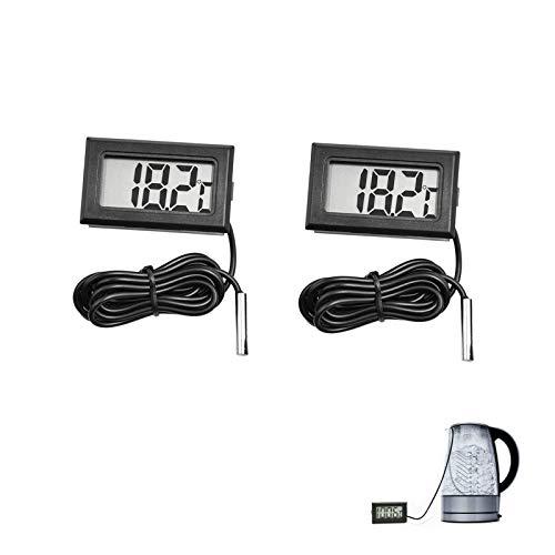 2 Pz Termometro Visuale Esterna per Freezer, Termometro Digitale LCD, Termostato x Congelatore con Sonda, per Acquario Display Digitale Termometro Forte Intervallo di Temperatura, -50C~110C