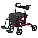 Vive Mobility Rollator Wheelchair Transport Chair - 4 Wheel Walker - Foldable Seat, Lightweight Elderly Adult Bariatric Mobility Aid - Medical Handicap Accessories Include Footrest, Cushion (Red)