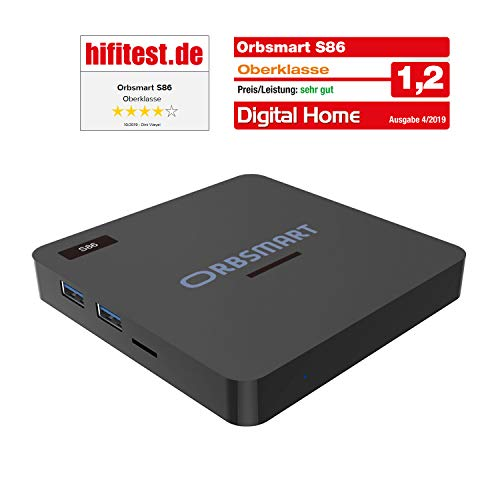 Orbsmart S86 Android 9.0 4K HDR10+ TV-Box/Mini PC (Hexacore-CPU S922X, 4GB RAM, HDMI 2.1, Gigabit-LAN, Dualband WLAN-ac, BT 4.1)