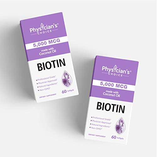 Biotin 5000 MCG - Vitamin B7 with Coconut Oil - Natural Biotin Supplement for Hair Growth, Nail & Skin Health - Vegan & Non-GMO - Skin, Hair and Nail Vitamins - 60 Capsules 6