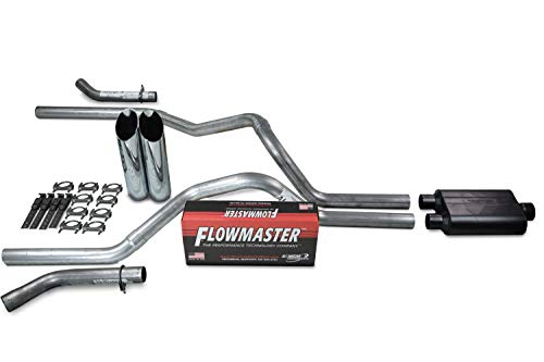Truck Exhaust Kits - Shop Line dual exhaust system 2.5' Aluminized pipe Flowmaster Super 44 Muffler 2.5' With Slash Cut Chrome Tips and Corner Exit for Silverado, Sierra, F-Series,& Ram