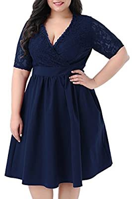 The drop down size is US Plus SIZE. Floral Lace Top,the material is a little stretchy Vintage A-line Style,Half Sleeve,Midi Length with back zipper,2 sides pocket for the skirt part Wash by Cold Water Only This dress is Suitable for Casual,Dating, Ba...