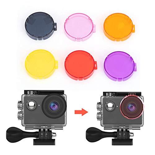 Oumij Set di Filtri per Lenti Subacquee 6 Colori Nero + Giallo + Arancione + Rosa + Viola + Rosso Filtri per Lenti per Action Cam per AKASO EK7000