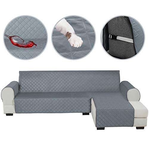 HDCAXKJ Sectional Couch Covers for Dogs Water Resistant L Shape Sofa Cover Pet Friendly Sectional Slipcovers Living Room Reversible Non Slip Furniture Protector with Straps Washable (Gray, Large)