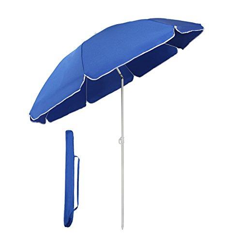 Sekey® Sonnenschirm 160 cm Marktschirm Gartenschirm Terrassenschirm Blau Rund Sonnenschutz UV20+