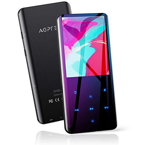 AGPTEK 32Go Haut-Parleur MP3 Bluetooth 5.0 avec Boutons Tactiles, 2.4 Pouces Grand Écran Lecteur Musical Sport HiFi Audio en Métal avec Bouton de Volume/Podomètre/Radio FM, Carte TF Jusqu'à 128G-Noir