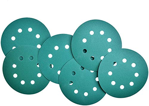 Mozing 5 Inch Green Film Sanding Discs 8 Hole Wet Dry Grit 240 Aluminium Oxide For Car Paint Refinishing & Wood or Metal Grinding and Polishing 50 Pack