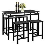 Henf Elegant Dining Room Table Set, Black Counter Height Table with 4 Chairs for 4, Modern Dining Set for Home Kitchen, Pub, Restaurant Set of 5