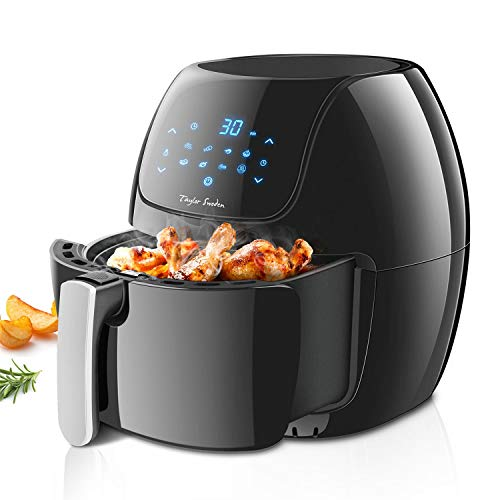 Taylor Swoden Sunbeam - Freidora de aire sin aceite, capacidad 6 l, 1800W, pantalla digital LED táctil, 8 ajustes preprogramados de cocinado, apagado automático