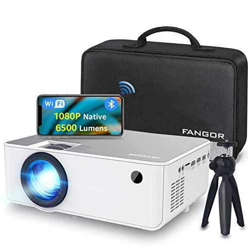 Proiettore WiFi FANGOR Videoproiettore 1080P Nativo HD Proiettore wireless Home Theater con Bluetooth, 6500 Lumens,...