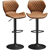 "DICTAC Leather Bar Stools Set of 2 Brown Bar Stools Adjustable Bar Chair Kitchens Bar Stools Breakfast Bar Stools Adjustable Hight 23.6"" to 31.5"""
