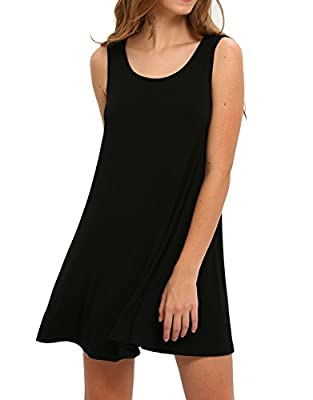 Two styles for wearing, loose tank dress or tunic top with leggings Material: Rayon+Spandex, very stretchy fabric, soft touched, light weight. Round neck, sleeveless, swing hem, loose bottom, tank top, above knee high. Style: short dress, sleeveless ...