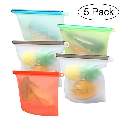 5 pezzi Riutilizzabile in Silicone Alimentare Storage Bag, ermetica, Perdita Resistente conservazione degli Alimenti Contenitore per Frutta Verdura Carne frigoriferi e Utensili da Cucina