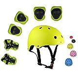 Lucky-M bambini 7 pezzi di sport outdoor Gear set bambine da ciclismo casco di sicurezza e set [ginocchiere, gomitiere e polsiere] rullo per scooter skateboard bicicletta ( 3 - anni Old ) (giallo)