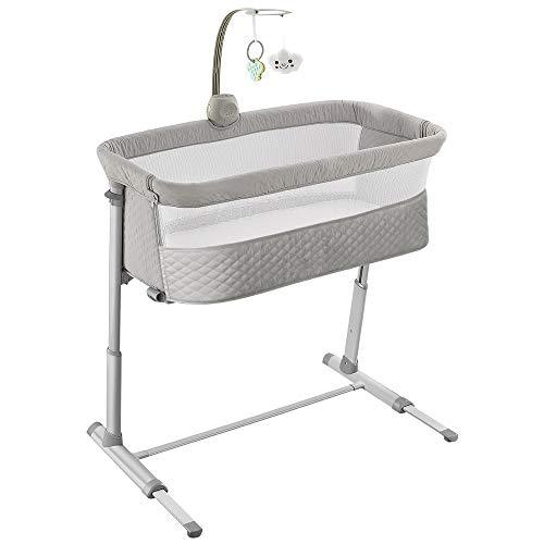 Image of Baby Bassinet,RONBEI Bedside Sleeper Baby Bed Cribs,Baby Bed to Bed, Newborn Baby Crib,Adjustable Portable Bed for Infant/Baby Boy/Baby Girl (Bassinet)
