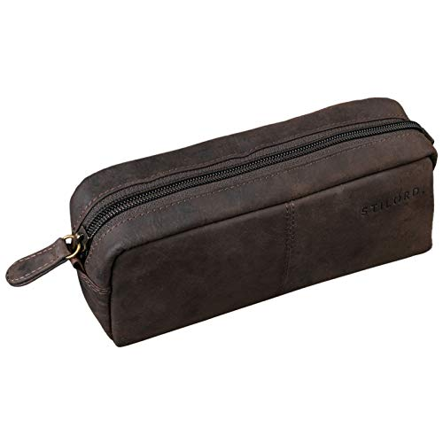 STILORD 'Spencer' Astuccio in Pelle Grande Vintage con Cerniera Beauty Case Cuoio Portamatite Portapenne, Colore:marrone scuro