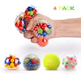 Fansteck Stress Balls for Kids, Squeezing Stress Relief Balls (4-Pack) for Kids and Adults, Squeeze Balls/Sensory Balls, Rainbow LED Stress Balls (4 Different Balls)