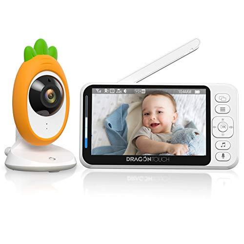 Dragon Touch 4.3'Video Baby Monitor, display LCD HD 1080P,Audio bidirezionale,Visione notturna a LED invisibile,modalità VOX,Schermo diviso,8 ninne nanne e monitoraggio della temperatura ambiente