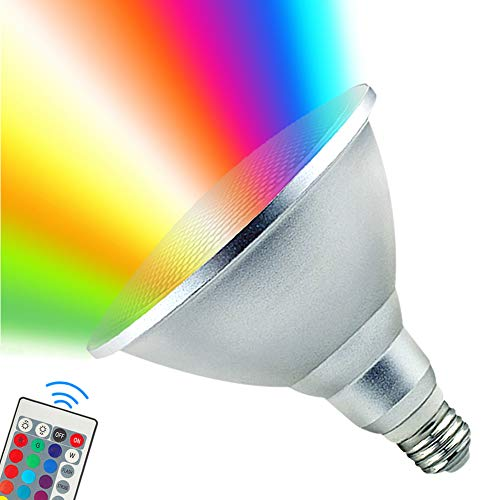 PAR38 LED Light Bulb,30W RGB+Warm White LED Flood Light Indoor/Outdoor,Dimmable Color Changing Spotlight with Remote Control, Waterproof Lawn Lamp for Home CourtyardChristmas Party Decoration