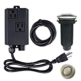 Garbage Disposal Air Switch Kit Dual Outlet Sink Top Waste Disposal Long Stainless Steel Brush Nickel On/Off Air Button Food and Waste Disposals Part by Etoolcity