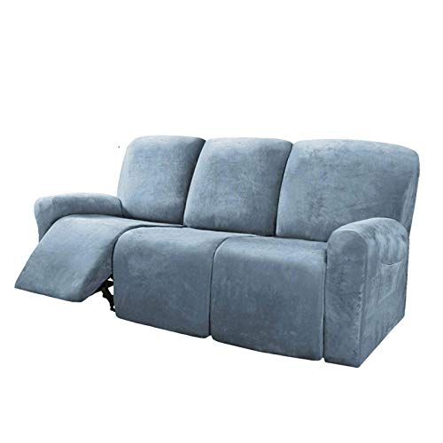 Honeyhouse - Copridivano reclinabile per 3 posti, 8 pezzi, in microfibra elasticizzata, per divano reclinabile, con 3 posti, in morbido pile, lavabile, con elasticit, per bambini e animali domestici